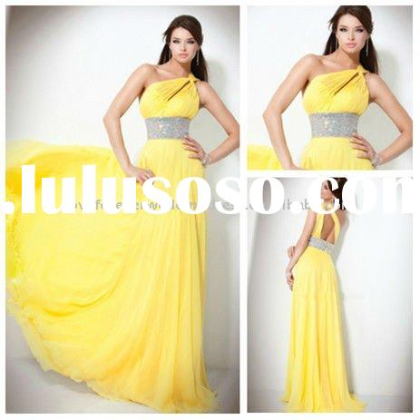 Best Selling One-shoulder Backless Yellow Prom Dress Evening 2012