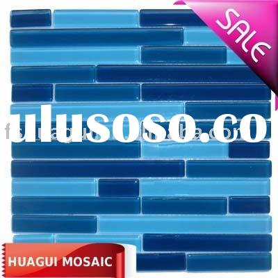 Blue color strip crystal glass mosaic wall tile