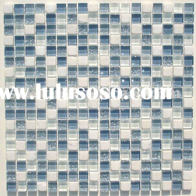 Blue glass mix white stone mosaic tile