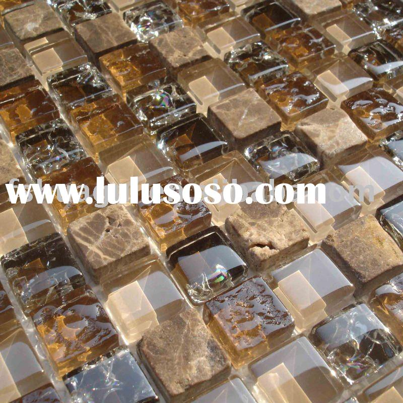 Brown glass mix marble mosaic wall tile HG-815014