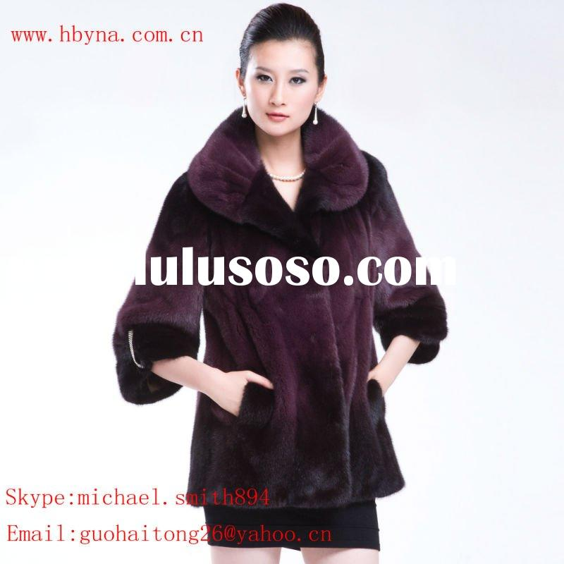 Brown long mink fur coat with a waistband