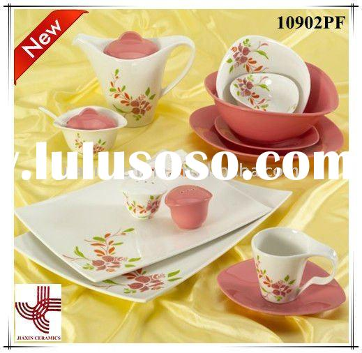 Ceramic dinner set with flower decal 10902PF