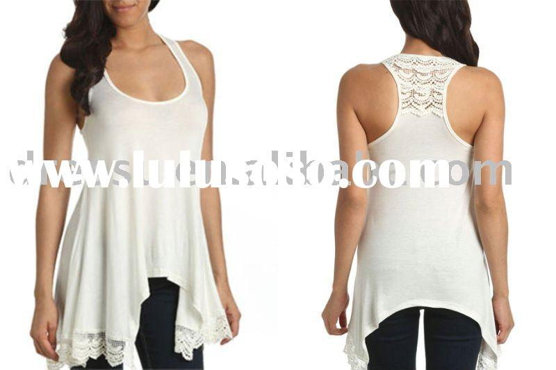 Crochet Back Scoop Neck Summer Tank Tunic Tops