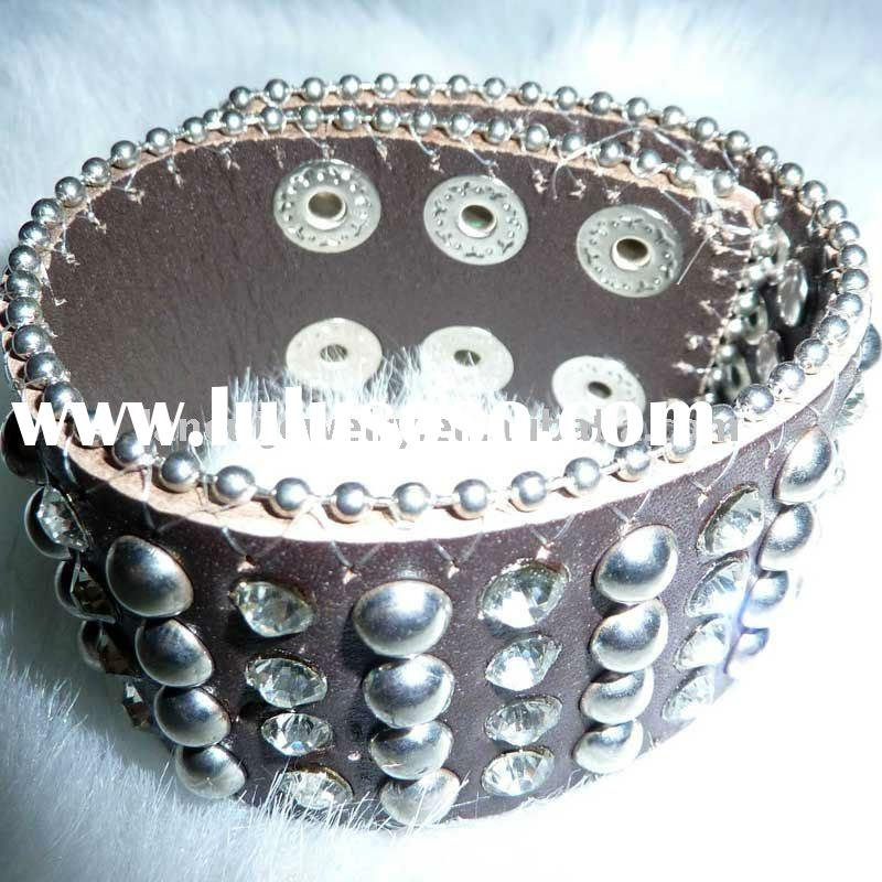 Customized silver studs&rhinestone leather bracelet&bangle with snap
