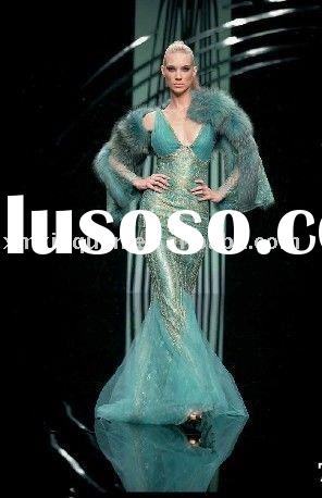 DE170 Hot sale custom made newest design sleeveless sequined satin mermaid weith feather wrap evenin