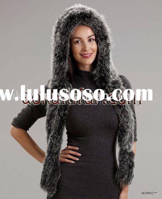 FOX FUR KNITTED FUR SCARF WITH HOOD
