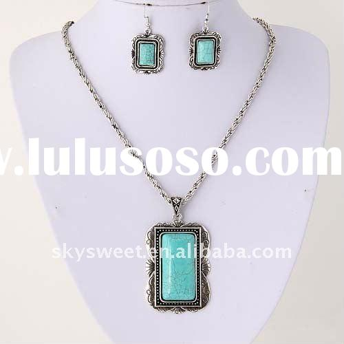 Fashion Alloy Turquoise Jewelry Necklace Set (SWTF013)