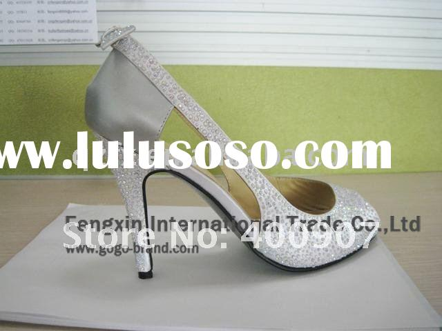 Fashion ladies shoes, crystal high heel wedding party shoes (small size 34-41)
