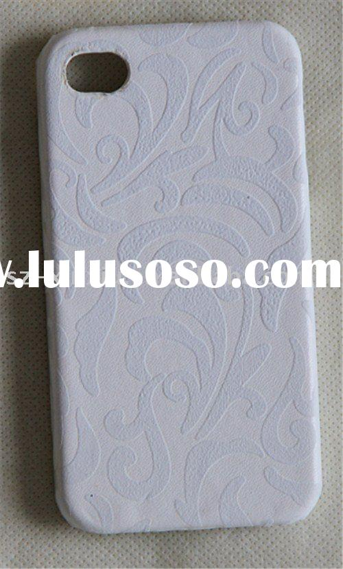 Floral pattern leather skin cover for iPhone 4 protective skin back cover