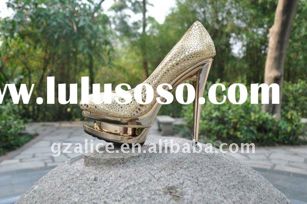 GLX0035 New style metal high-heel shoes,Metal paster sheepskin dress shoes ,gold