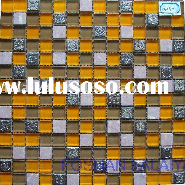Glass Mosaic Mixed Ceramic and Marble Wall Tile GS067-C