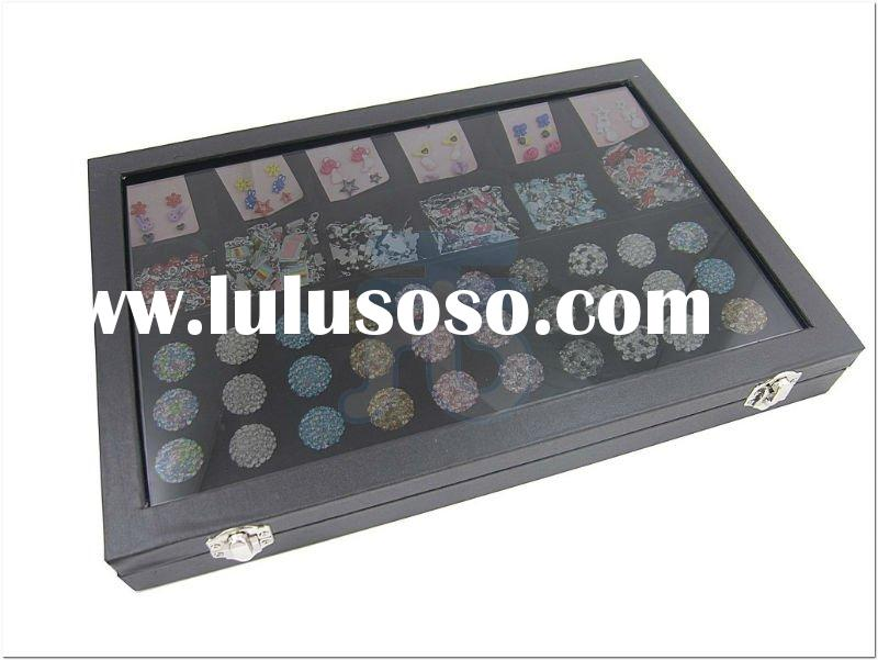 Glass Top Lid Cover Multi-function 12 Compartments Rings Cufflinks Countertop Showcase Jewelry Displ