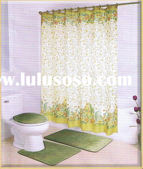 Green 100% polyester PEC/PV coated Shower Curtain/Bath Curtain 024