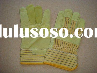 HSA031 cow split leather working safety hand glove
