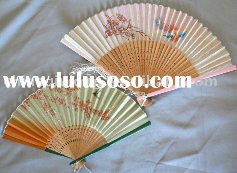 Hand-painted Asian Carved Bamboo Sticks Hand Fans