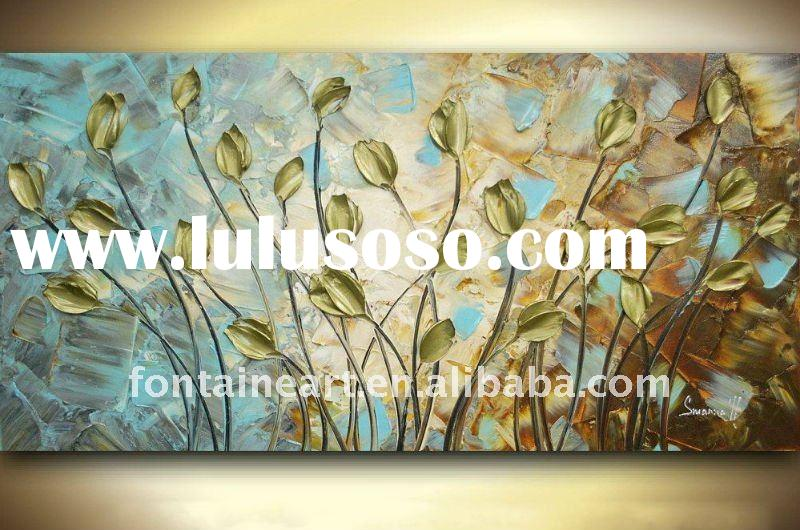Handmade Abstract Contemporary Fine Art Brown Gray Gold Tulips Flowers Palette Knife Impasto Landsca