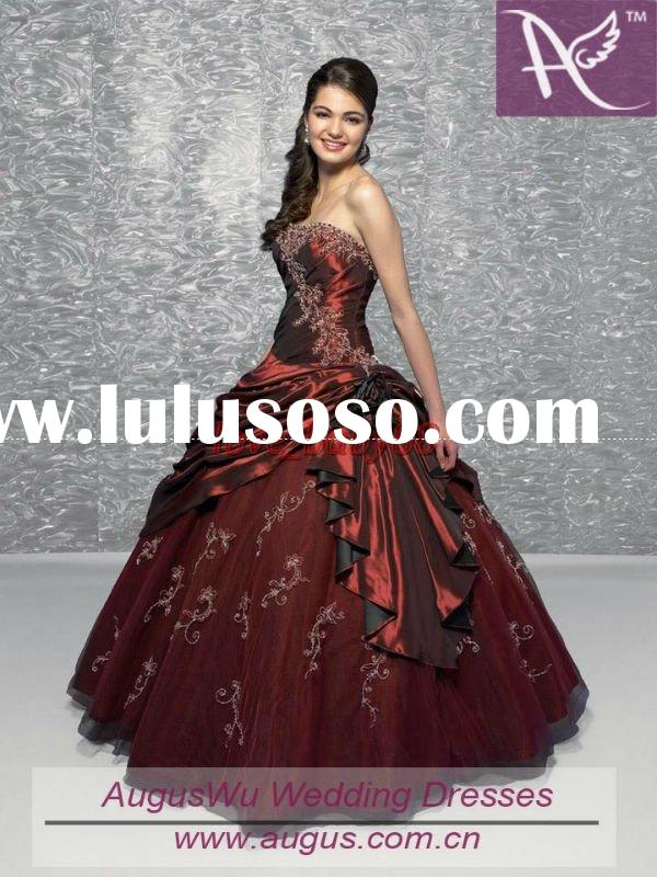 Hot sale In stock Ball gown Burgundy Quinceanera dress US size 4,6,8,10