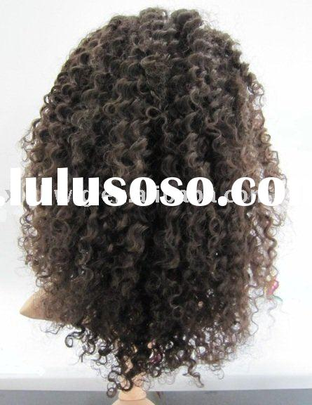 Human Hair 14 inch natural color kinky curly full lace wig