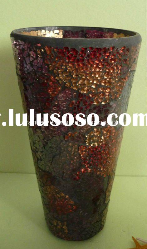 "Italian mosaic glass vase 10""colorful and crackled glass for home decor"