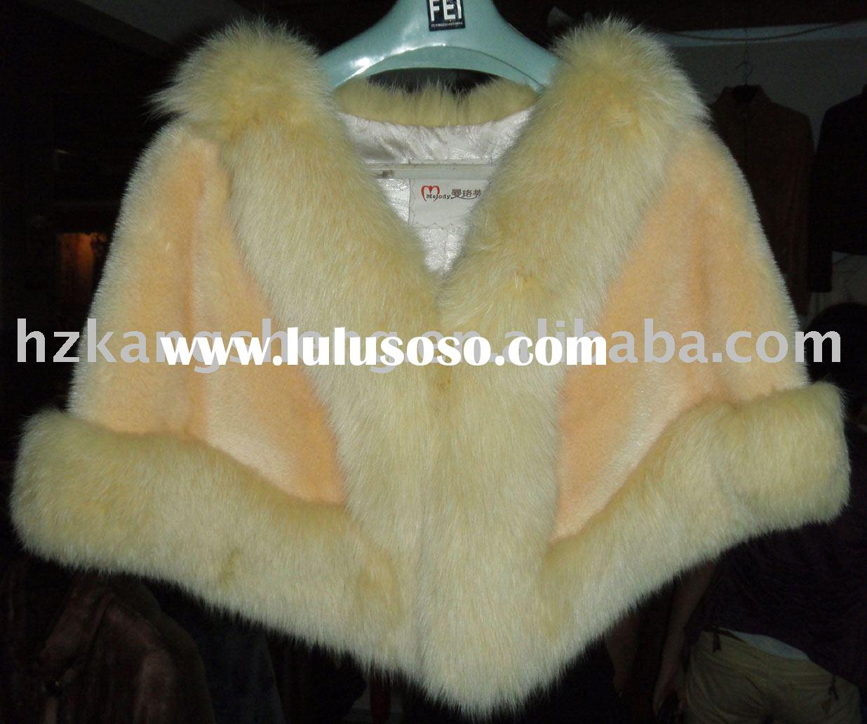 LADIES MINK FUR CAPE TRIM WITH FOX FUR
