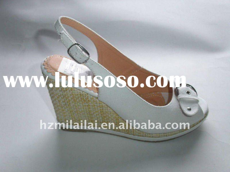 Lady's evening wedges high heel shoes with decoration