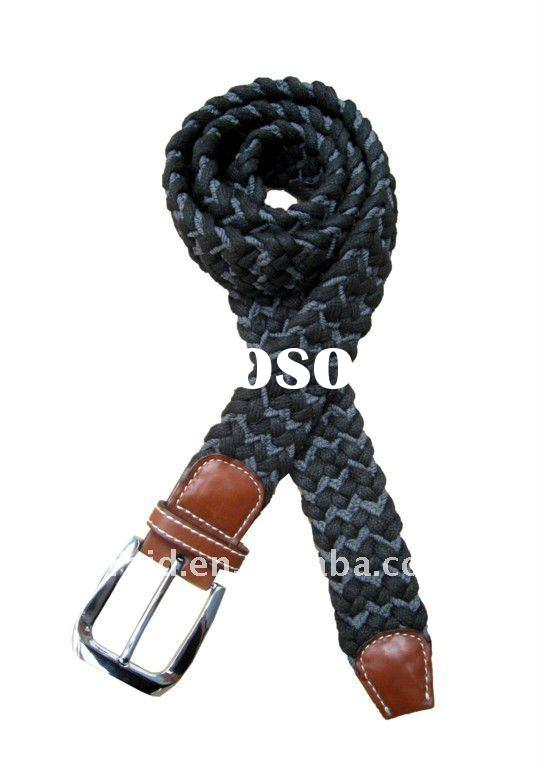 Leather wax cotton rope woven belts in bulk