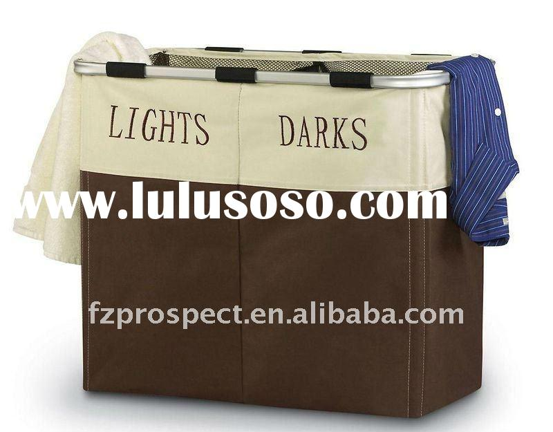 Lights and darks dual sort laundry hamper with portable drawstring mesh liner