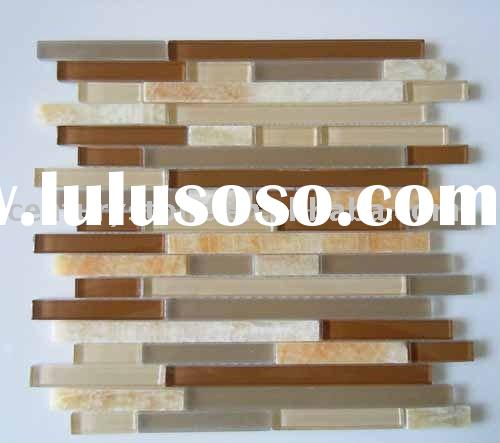 Linear Interlocking Pattern Mosaic/ Glass Mix Marble Backsplash Tiles