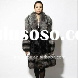 Luxurious silver fox fur + rabbit women's coat