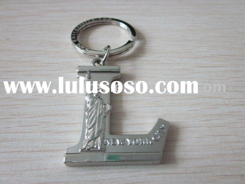 Metal Capital Letter L Engraving Logo Keychain Statue of Liberty Key Ring Metal Keychain