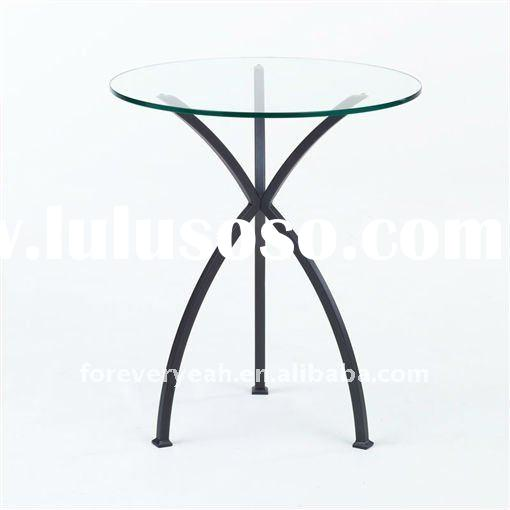 Metal glass and brass round end table