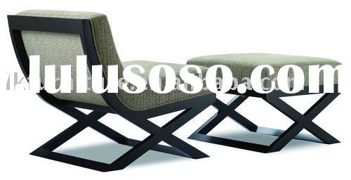 Modern Barcelona Wooden Frame Chair With Ottoman