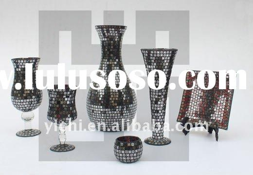 Mosaic glass vase and candle holder