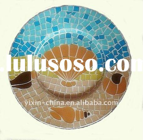 Ocean Conch Design Mosaic Glass Plate