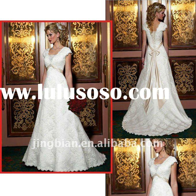 One-piece, lace over satin, slim A-line Wedding Dress with short cap-sleeves and scalloped lace Drea