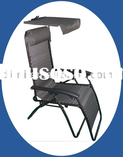 Outdoor Folding Zero Gravity Chair with Luxury Canopy, Cup Holder and Armrest
