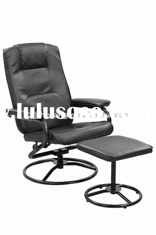 PVC metal tube swivel recliner chair with ottoman