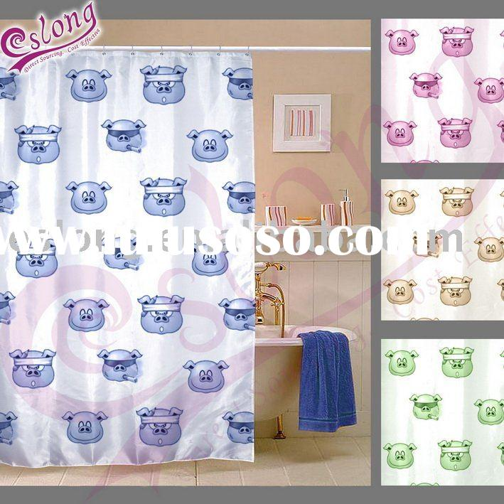 Pig Printed Shower Curtain, Bathroom Product. 090037SC