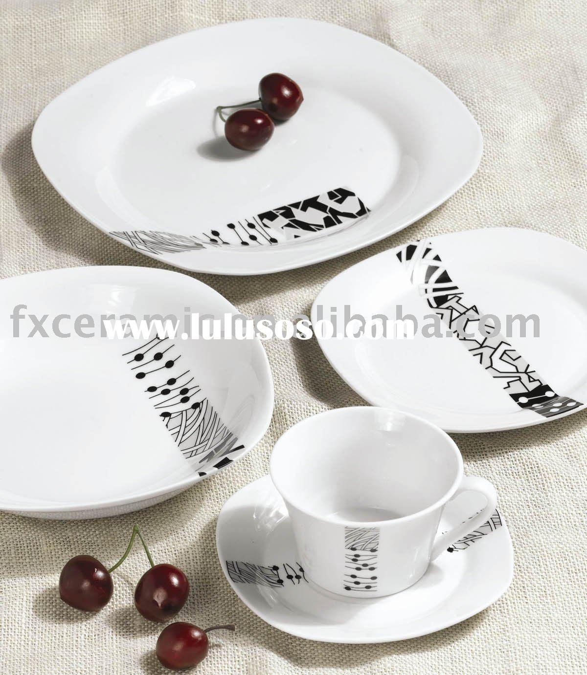 Porcelain 20pcs white dinner set ( plate, dish), customized size and logo is welcomed