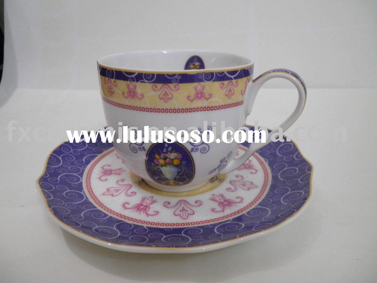 Porcelain tea/coffee cup with saucer in royal english style