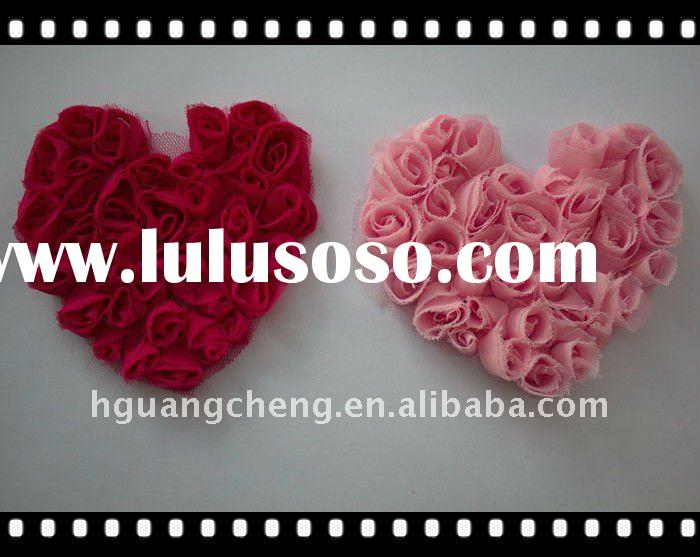 Pretty Light/Hot Pink Rose Chiffon Heart Appliques