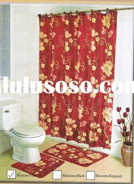Red flower design polyested PEC/PV coated Shower Curtain/Bath Curtain 022
