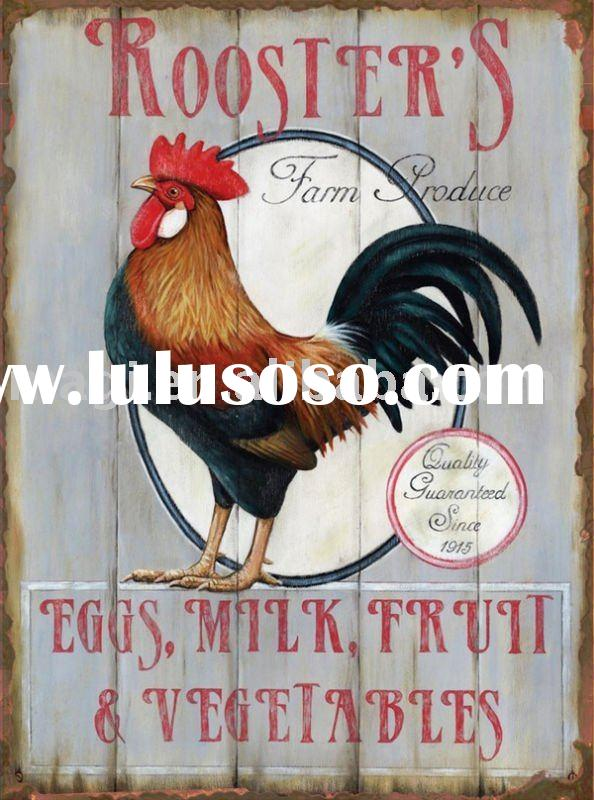 Country Rooster Farm Eggs Red Vintage Tin Signs For Sale
