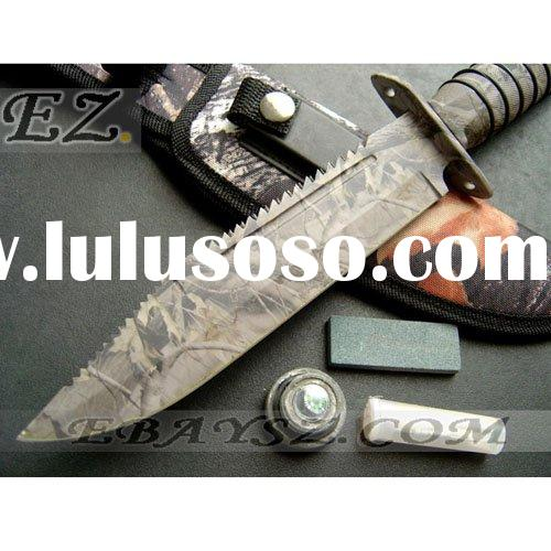 SURVIVOR Army Camouflage Survival Knife Hunting Knife Fixed Blade Knife &DZ-685