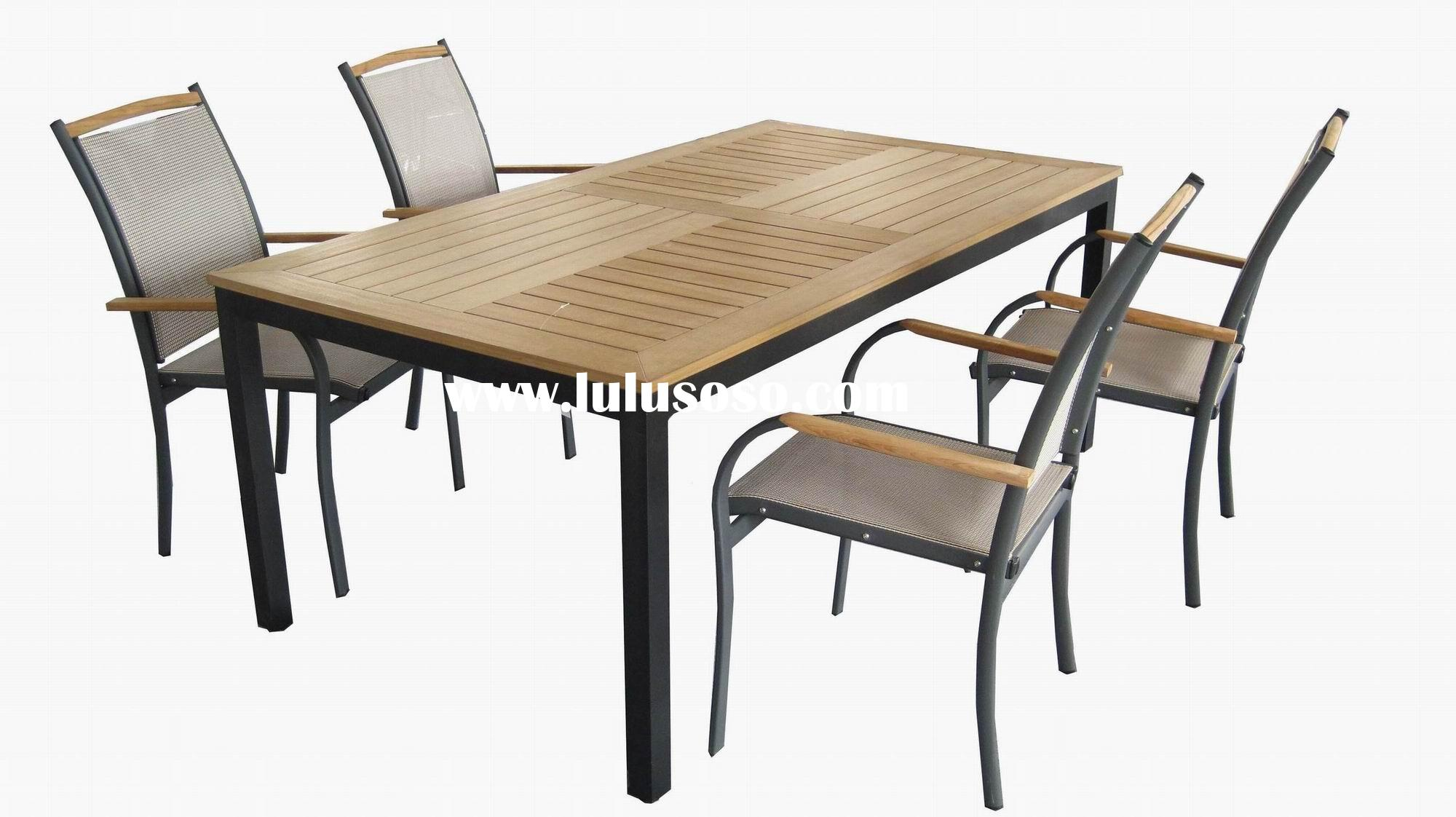 plastic wood top aluminum frame dining table and chair  : SolidWoodtopAluminumtableandchair from sell.lulusoso.com size 2000 x 1122 jpeg 190kB