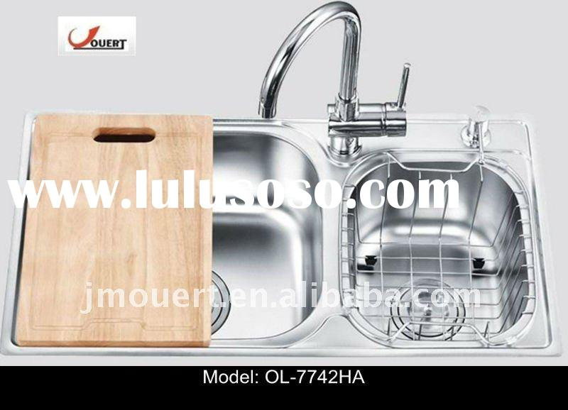 Stainless Steel Kitchen Sink Double Bowl One-piece Punch