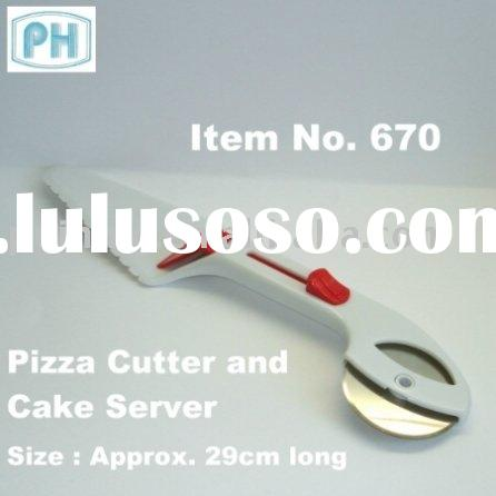 Stainless Steel Pizza Cutter and Plastic Server