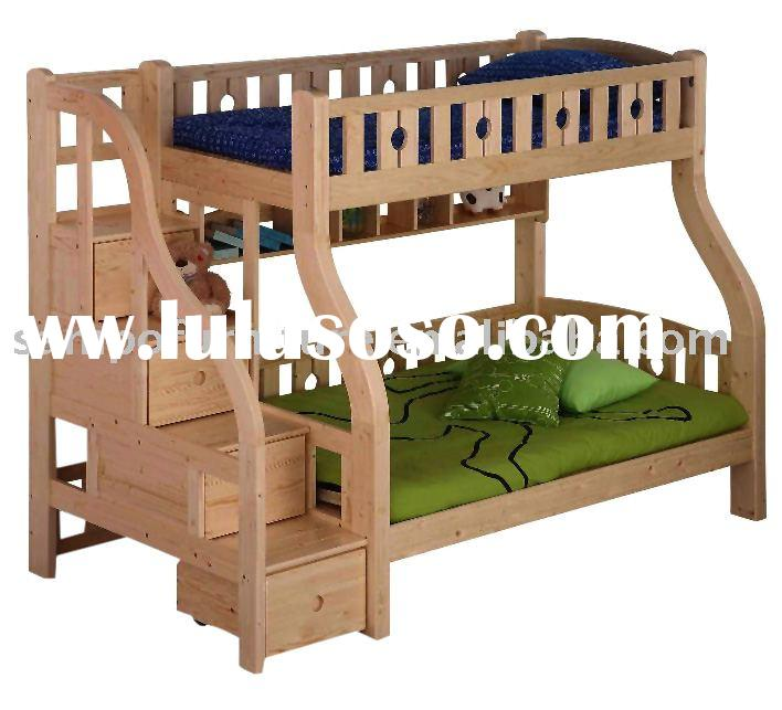 Twin Over Full Wood Bunk Bed with Trundle Unit/ Storage Drawer in Natural Pine Finish