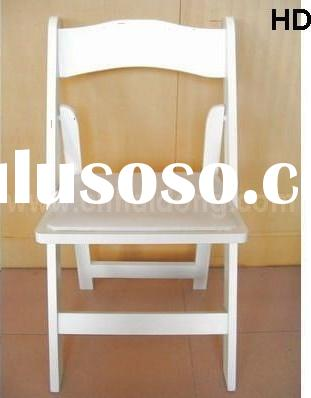 White Wood Folding Chair with Pad