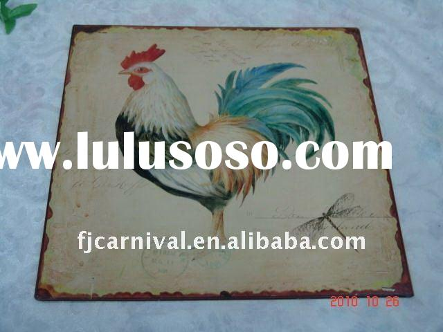 Wholesale cheap crafts metal chicken signs home decor